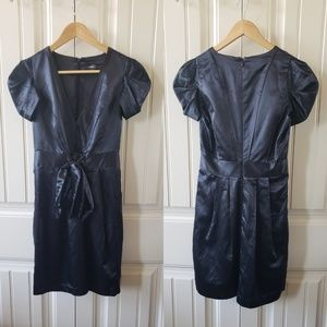 Silky shine black dress with layered cap sleeves